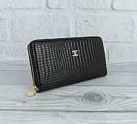 Кошелек женский кожаный на молнии 9046 черный лаковый, фото 1