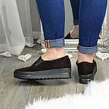 Туфли женские из натуральной замши коричневого цвета на утолщенной подошве, фото 2