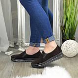 Туфли женские из натуральной замши коричневого цвета на утолщенной подошве, фото 3
