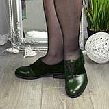 Туфли зеленые женские на маленьком каблуке, натуральная кожа и замша, фото 2