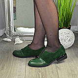Туфли зеленые женские на маленьком каблуке, натуральная кожа и замша, фото 3