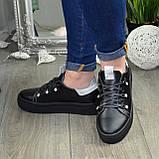 Кеды женские кожаные на утолщенной черной подошве, фото 2