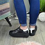Кеды женские кожаные на утолщенной черной подошве, фото 5