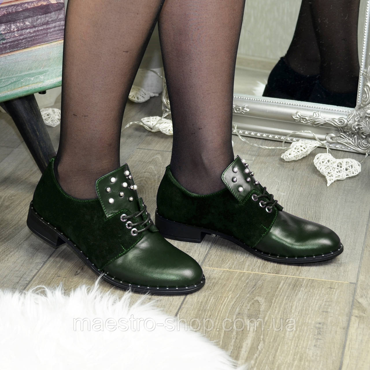 Туфли зеленые женские на шнуровке, натуральная кожа и замша