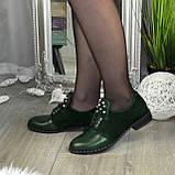 Туфли зеленые женские на шнуровке, натуральная кожа и замша, фото 2