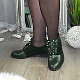 Туфли зеленые женские на шнуровке, натуральная кожа и замша, фото 3