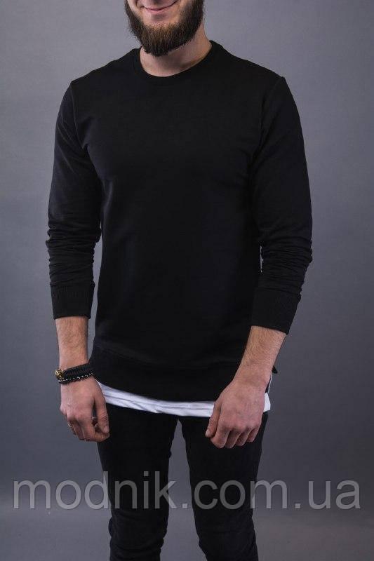 Мужской удлиненный свитшот (черный) - Турция