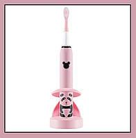 Детская зубная щетка Happy Panda (розовая), звуковая аккумуляторная, TM iSonic.