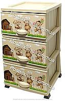 Пластиковый комод с детским рисунком на 3 ящиками Мишки Elif  Турция