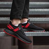 Кроссовки мужские Армани текстильные спортивные черные с красной полоской