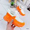 Кроссовки женские Pris белые+оранжевый 9465