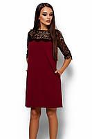 S, M, L / Коктейльне жіноче марсалове плаття