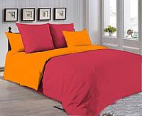 Красно-оранжевое постельное постельное белье. Евро комплект Простыня на резинке
