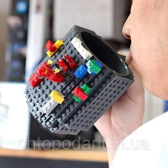 Кружка Лего Lego чашка конструктор 350мл BUILD-ON BRICK MUG Minecraft серая Код 13-0516