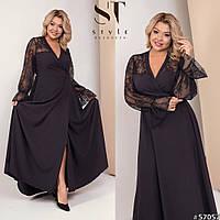 Красивое женское платье в пол на запах со вставками кружева 48-52, 54-58, 60-64