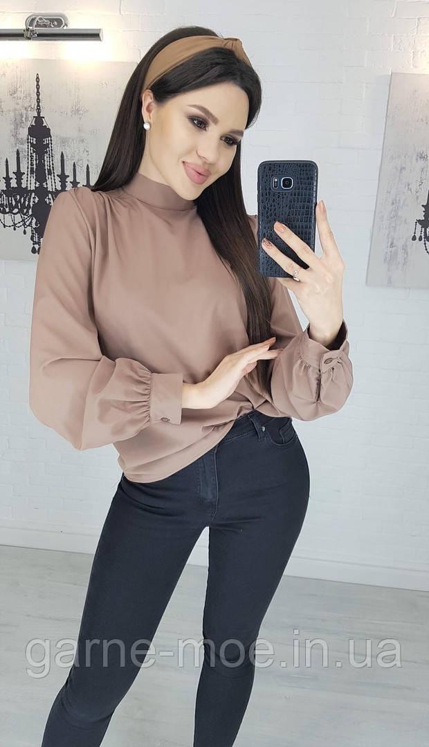 У25150 Стильная женская блуза (черный, белый, красный, кофе, электрик, марсала, изумруд )