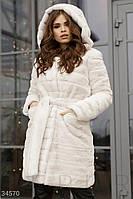 Модная женская  шуба молочного цвета XS S M L, фото 1