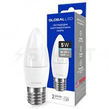 Лампа LED свічка Global 5W 4100K E27 1-GBL-132 С37
