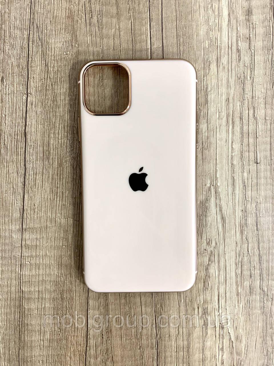 Чехол для iPhone 11 Pro силиконовый глянец с логотипом, Персиковый