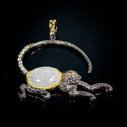 Серебряная подвеска с натуральным Лунным камнем Сапфирами и Cz