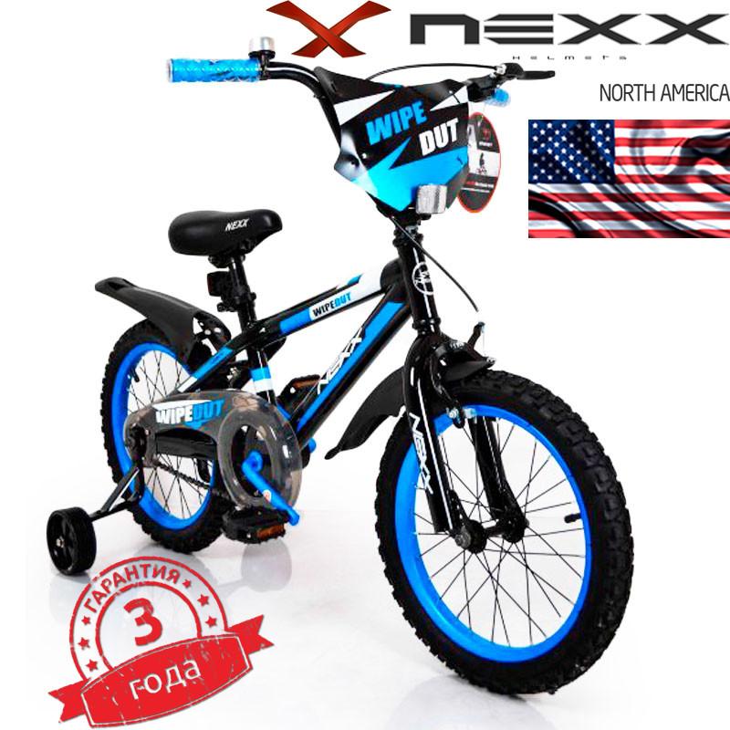 Детский Американский Велосипед с боковыми колесами NEXX BOY-16 дюймов от 4 лет Black-Blue