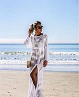 Туніка жіноча пляжна довжина ажурна в'язана