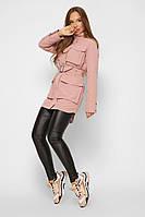 Женская парка куртка демисезонная пудрового цвета 42