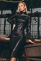 Черное кожаное женское платье - качество и стиль 100%