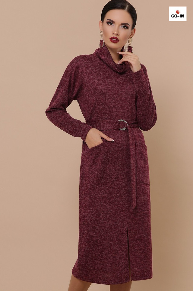 Сукня жіноча дакота з поясом з кишенями тепле довгі однотонне ангоровое