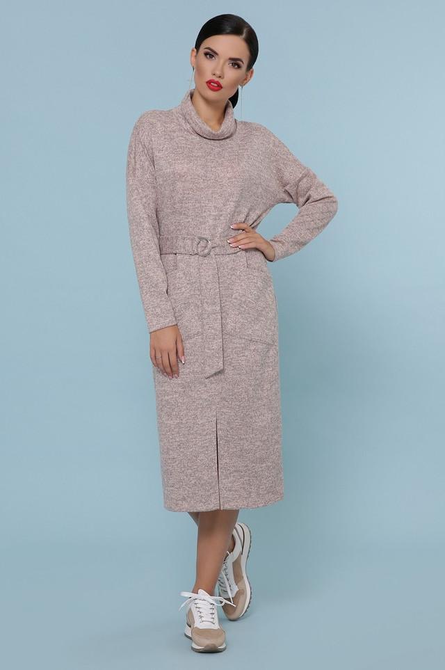 Сукня жіноча з поясом з кишенями тепле довгі