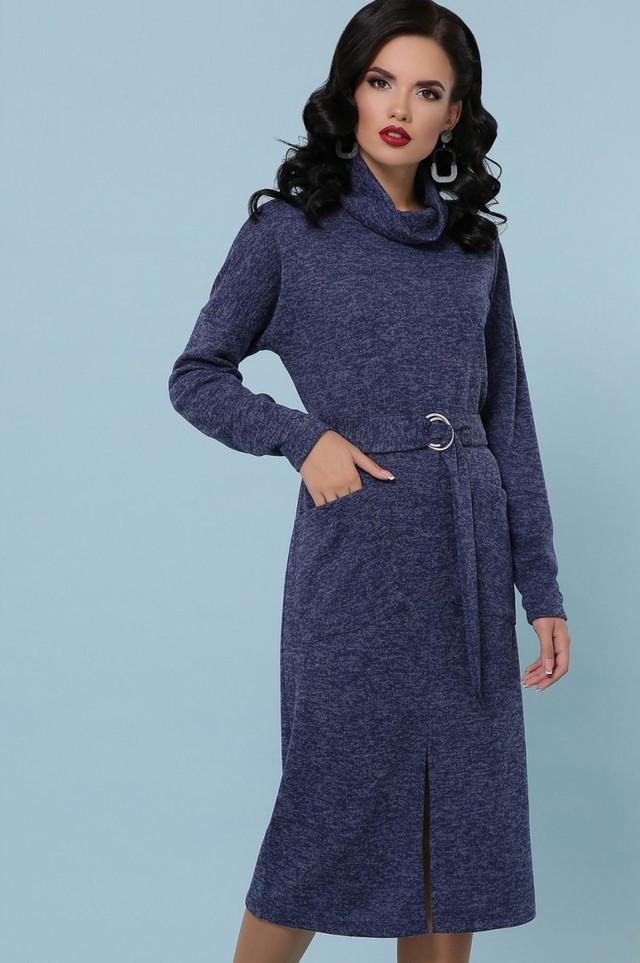 Сукня жіноча дакота з поясом з кишенями тепле довгі однотонне