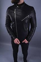 Мужская демисезонная косуха (кожанка) черная - Турция