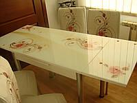 """Розкладний стіл обідній кухонний комплект стіл і стільці 3D малюнок 3д """"Кремова троянда"""" ДСП скло 60*90 Лотос-М"""