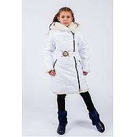 Куртка пальто стильная детская зимняя для девочки 122-140 белый