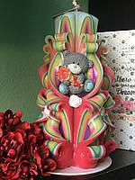 Свеча с нежная с мишкой Тедди и розами