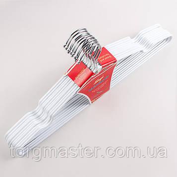 Металлические вешалки плечики 10шт в тонком силиконе белого цвета, 40.5 см