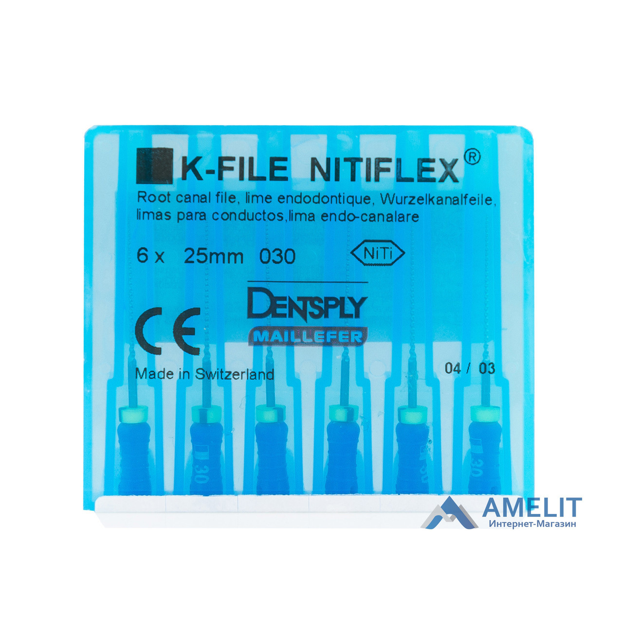 К-файл Нитифлекс №20 (K-File Nitiflex, Dentsply Sirona), 6шт./уп.