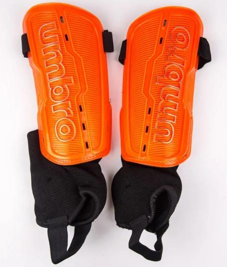 Щитки футбольные Umbro с голеностопом оранжевые