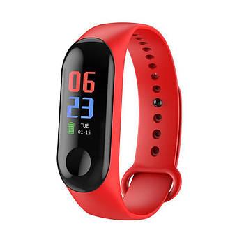 Фитнес-браслет М3 с пульсометром Красный
