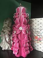 Рожева й ніжна свічка, висотою свічки 22 см