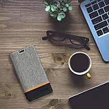 Чехол  для Neffos X1 Lite Чехол Флип кожа+ткань силиконовый черно серый, фото 8