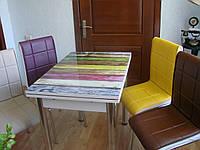 """Розкладний стіл обідній кухонний комплект стіл і стільці 3D малюнок 3д """"Різнокольорові дошки"""" ДСП скло 60*90 Лотос-М"""