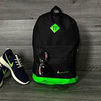 Хитовая расцветка. Рюкзак NIKE /Найк портфель черный с салатовым. Ромб, фото 1