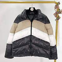 Стильная трехцветная женская демисезонная куртка