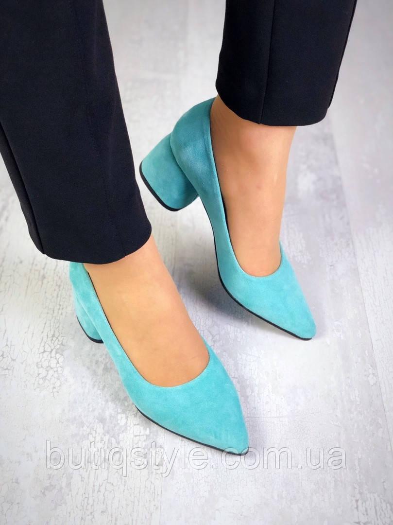 36 размер Женские голубые туфли натуральный замш на каблуке
