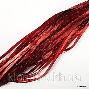 Тесьма металлизированная, ширина: 5 мм, Цвет: Красный (5 метров/уп.)