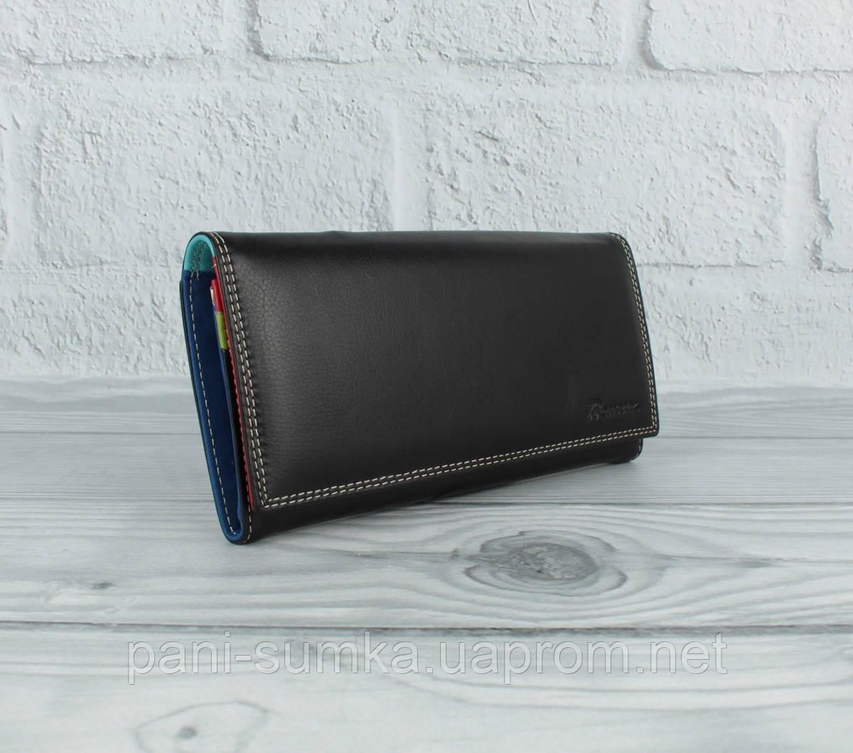 Шкіряний гаманець Prensiti 122-6601 чорний на кнопці, класичний (монетниця всередині)