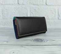 Кожаный кошелек Prensiti 122-6601 черный на кнопке, классический (монетница внутри), фото 1