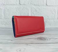 Кожаный кошелек Prensiti 122-6601 красный на кнопке, классический (монетница внутри), фото 1
