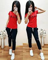 """Женский стильный костюм """"Vogue"""": футболка и капри (10 цветов)"""